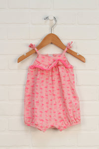 Pink Graphic Bubble Romper: Flamingos (Size 0-3M)