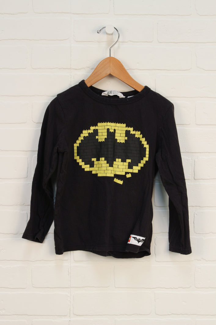 Black Graphic Top: Lego Batman (Size 4-6Y)