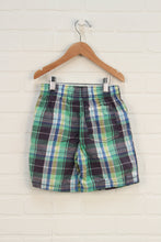 Lime + Blue Plaid Shorts (Size 6)