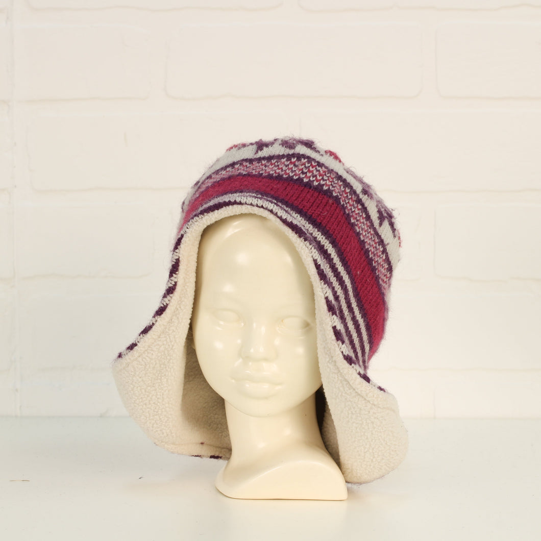 White + Purple Winter Hat (O/S Toddler - Preschooler