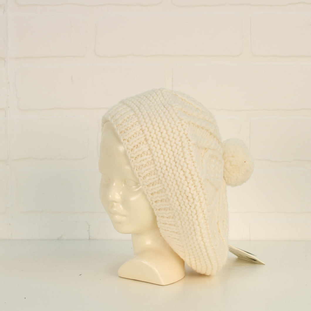 NWT Cream Hand Knit Beret (O/S Kids)