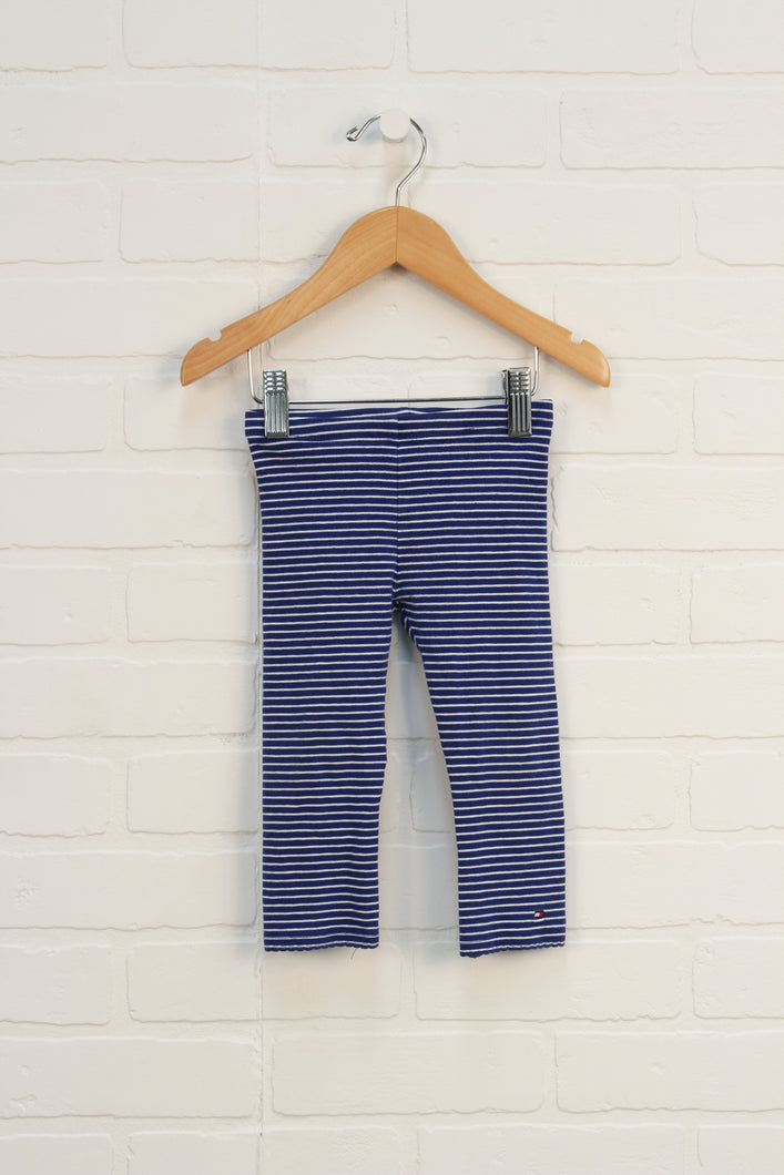 Blue + White Striped Leggings (Size 2T)