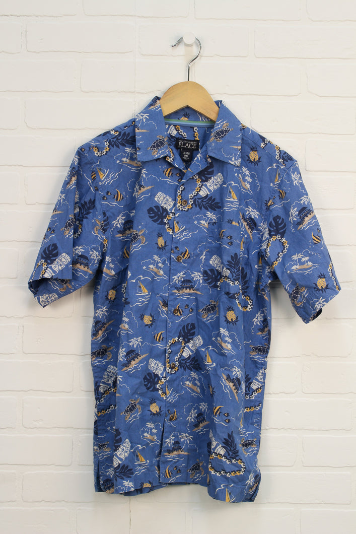 Blue Graphic Button-Up: Tiki Theme (Size XL/14)