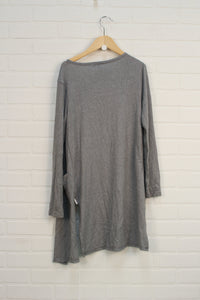 Heathered Grey Long Cardigan (Size L/10-12)