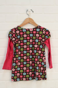 Brown + Hot Pink Tunic (Size 4T)