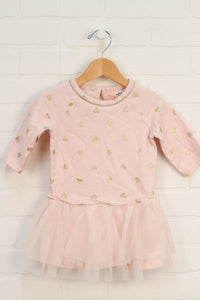 Blush + Gold French Terry Dress (Size 24M)