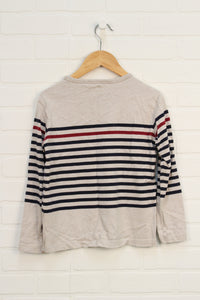 Oatmeal Striped Top (Size 9-10)