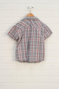Putty + Crimson Snap Button Up (Size 104/3-4Y)