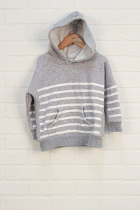 Heathered Grey + White Striped Hoodie (Size 3A)