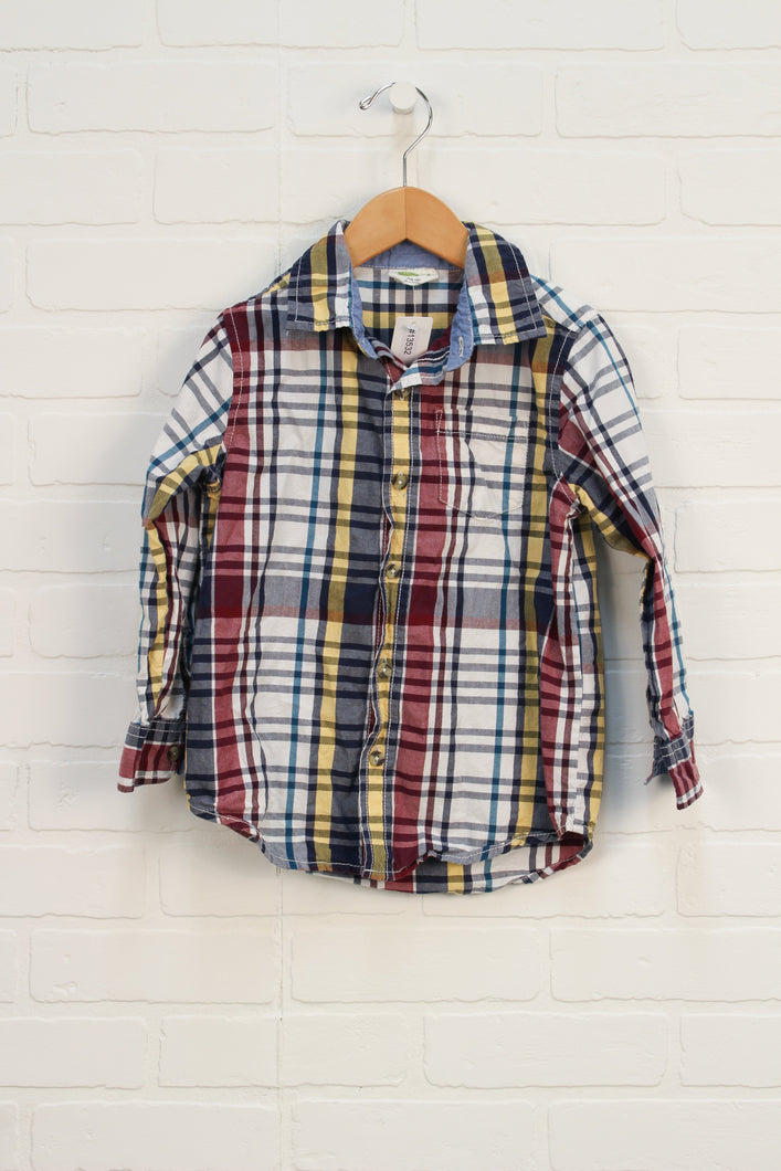 White + Burgundy Plaid Button Up (Size XS/4)