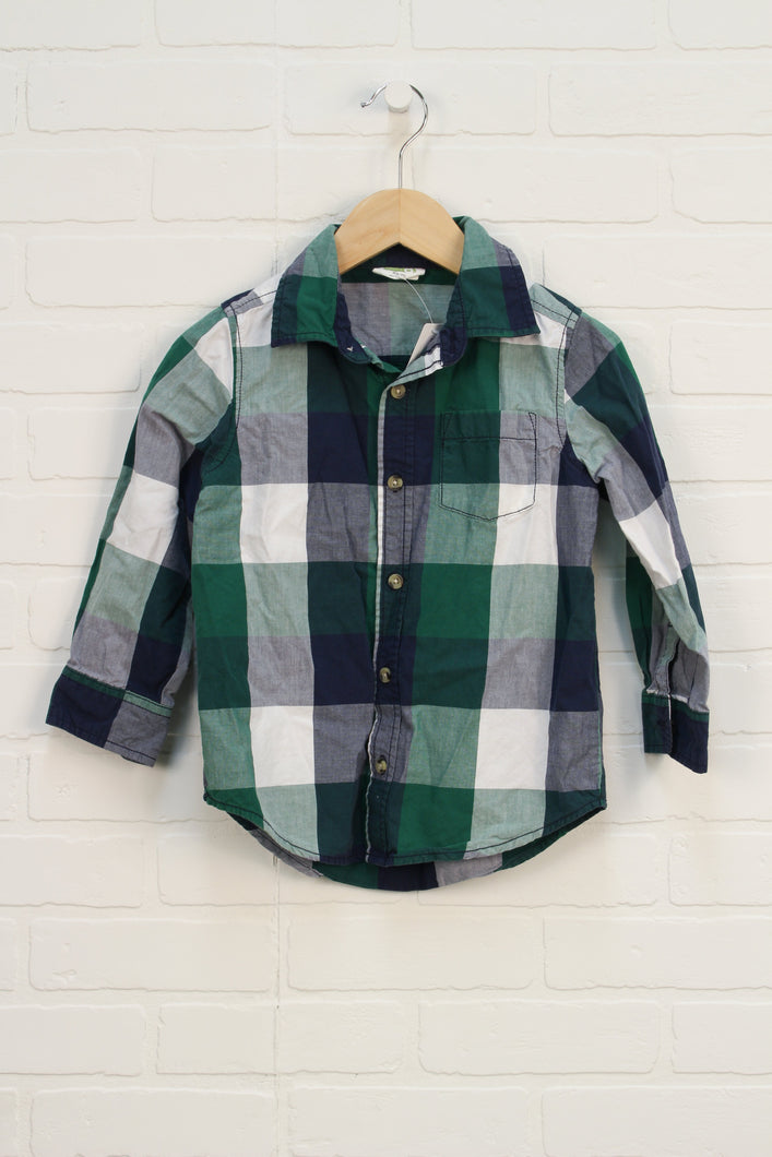 Green + Navy Checked Button Up (Size XS/4)