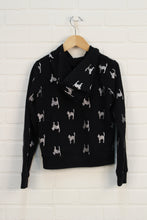 Black + Silver Graphic Hoodie: Cats (Size M/8)