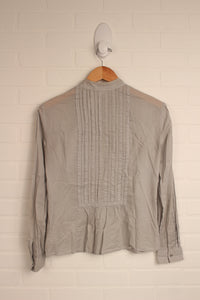 Grey Pintuck Blouse (Women's Size S)