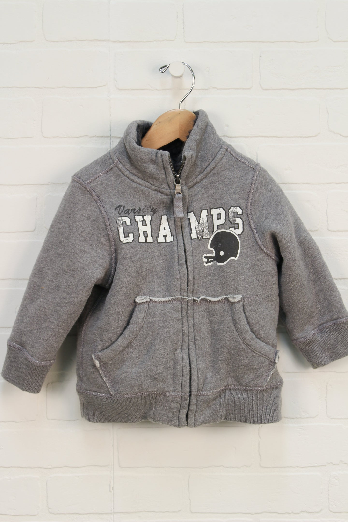Heathered Grey Sherpa Lined Sweatshirt (Size 24M)