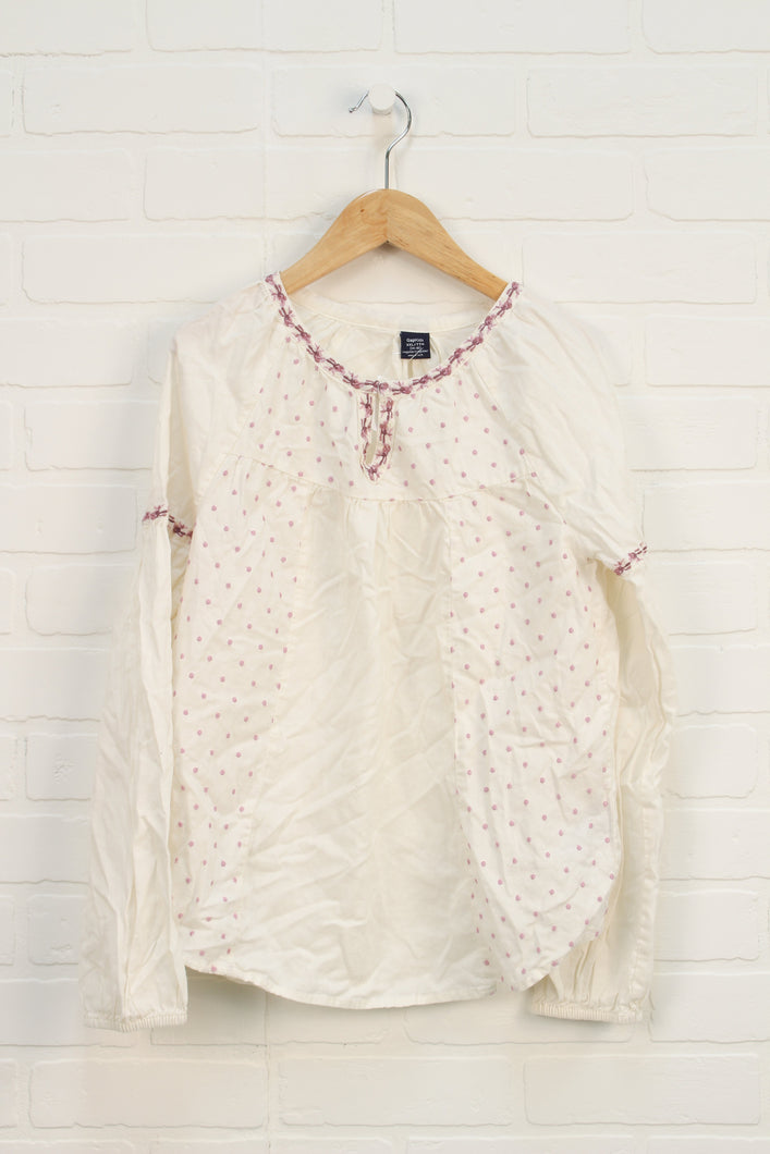 Cream + Lilac Embroidered Polka Dot Blouse (Size XXL/14-16)