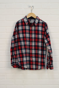 Crimson + Navy Flannel Button Up (Size 140/9-10)