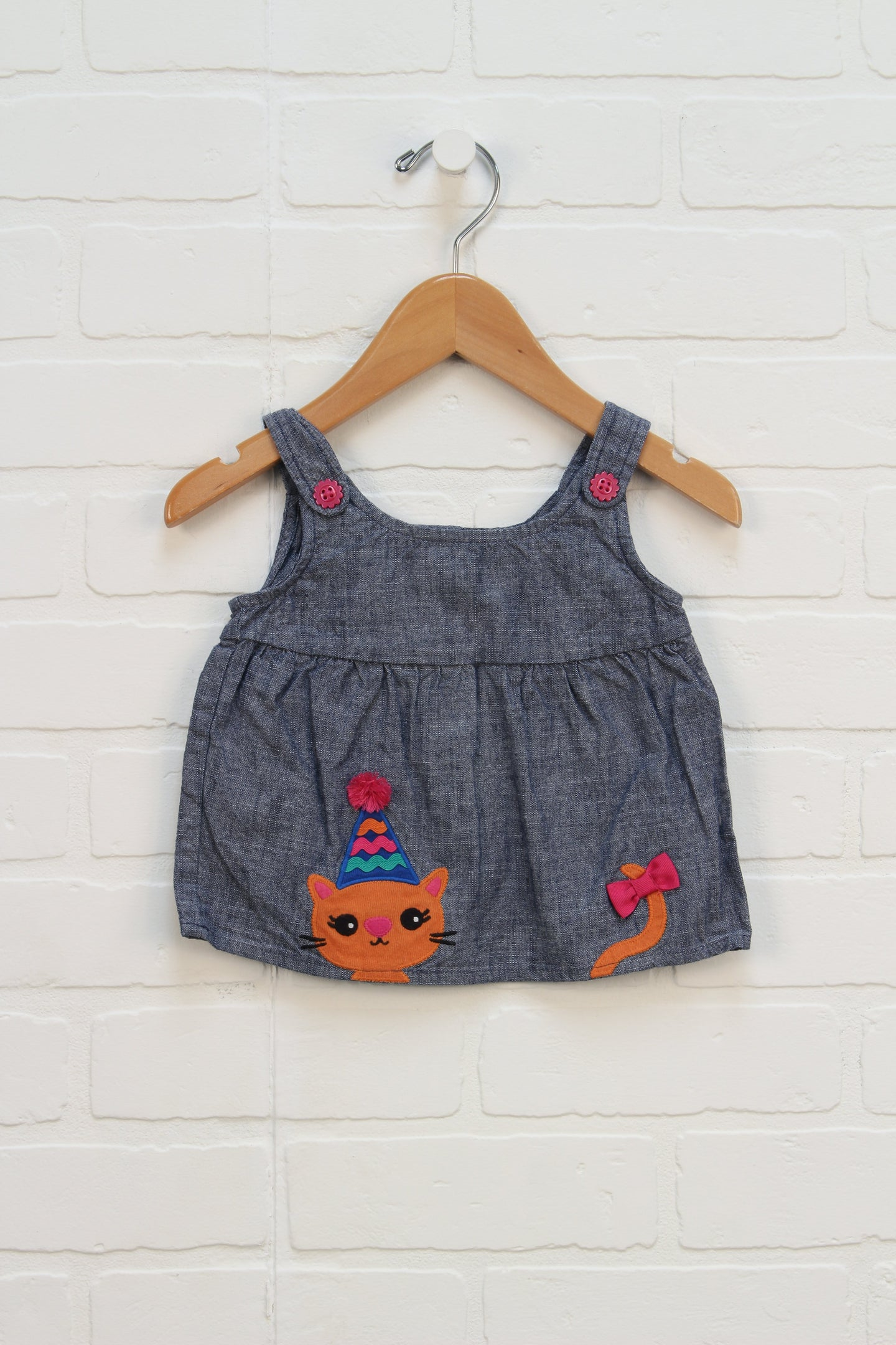 Embroidered Denim Dress: Cat (Size 3-6M)