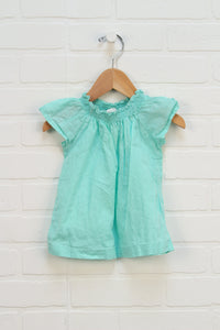 Turquoise Fultter Sleeve Top (Size 24M)