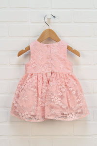 Pink Lace Overlay Party Dress (Size 3-6M)