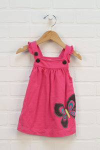 Hot Pink French Terry Embroidered Dress (Carter's Size 9M)