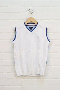 White + Blue Sweater Vest (Size M/12-14)