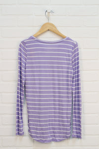 NWT Lilac + White Curved Hem Top (Size L/10-12)