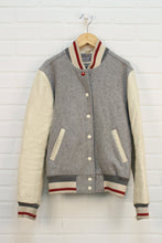 Grey + Beige Letterman Jacket (Size 14)