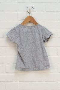Heathered Grey Cap Sleeve Graphic T-Shirt (Size 4)