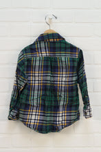 Green + Navy Plaid Button Up (Size 4)