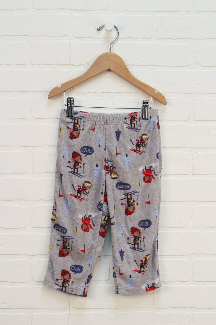 Heathered Grey Graphic Fleece Pants: Monkeys (Size 2T)