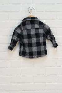 Grey + Black Plaid Flannel Button Up (Size 12M)