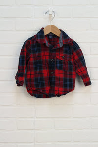 Crimson + Navy Plaid Button Up (Size 12-18M)