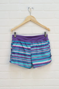"Purple + Turquoise Striped ""DriWorks"" Shorts (Size M/7-8)"