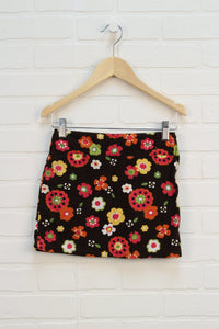 Brown Floral Corduroy Skirt (Size 7)