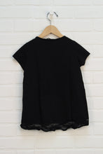 Black Lace Trimmed Sequin Top (Size S/6-7)