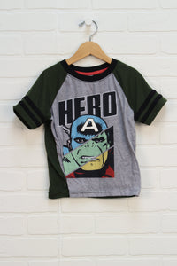 Heathered Grey + Forest Graphic T-Shirt: Marvel (Size XS/4-5)