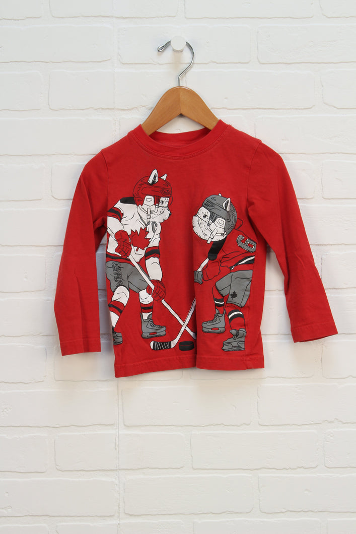 Red Graphic T-Shirt: Hockey (Size 2)