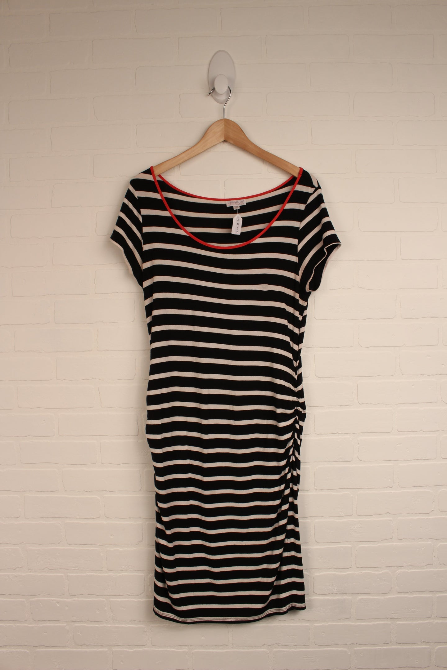 Black + White Striped Maternity Tunic (Maternity Size L)
