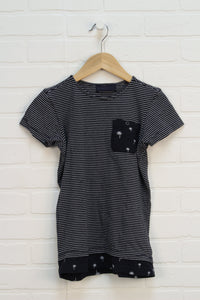 Black + White Striped Tunic (Size XS/5-6)