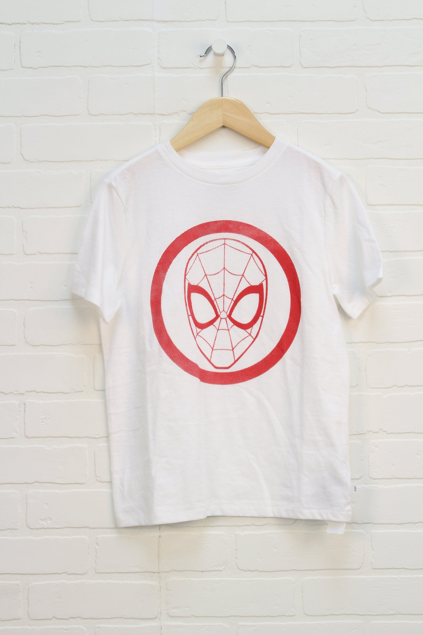 White + Red Graphic T-Shirt: Spider-Man (Size M/8-9)