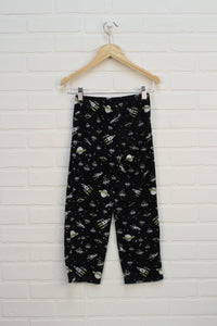 Black Graphic Fleece Pants: Space (Size 6)