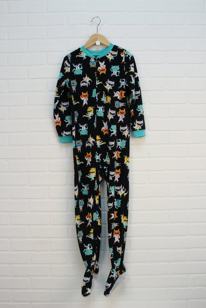 Black Graphic Fleece Sleeper: Monsters (Size 8)