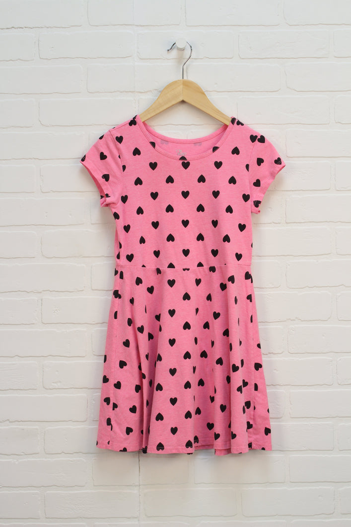 Fluorescent Pink + Black Graphic Skater Dress (Size M/7-8)