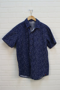 Blue + White Button Up (Men's Size M)