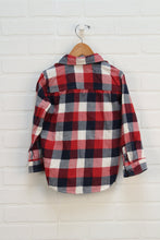 Red + Navy Plaid Flannel Button Up (Size 4T)