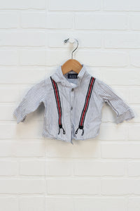 Light Blue + White Applique Button Up (Size 0-3M)