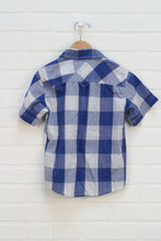 Blue + White Checked Button Up (Estimated Size 6)