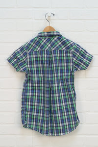 Green + Blue Plaid Button Up (Size 6)