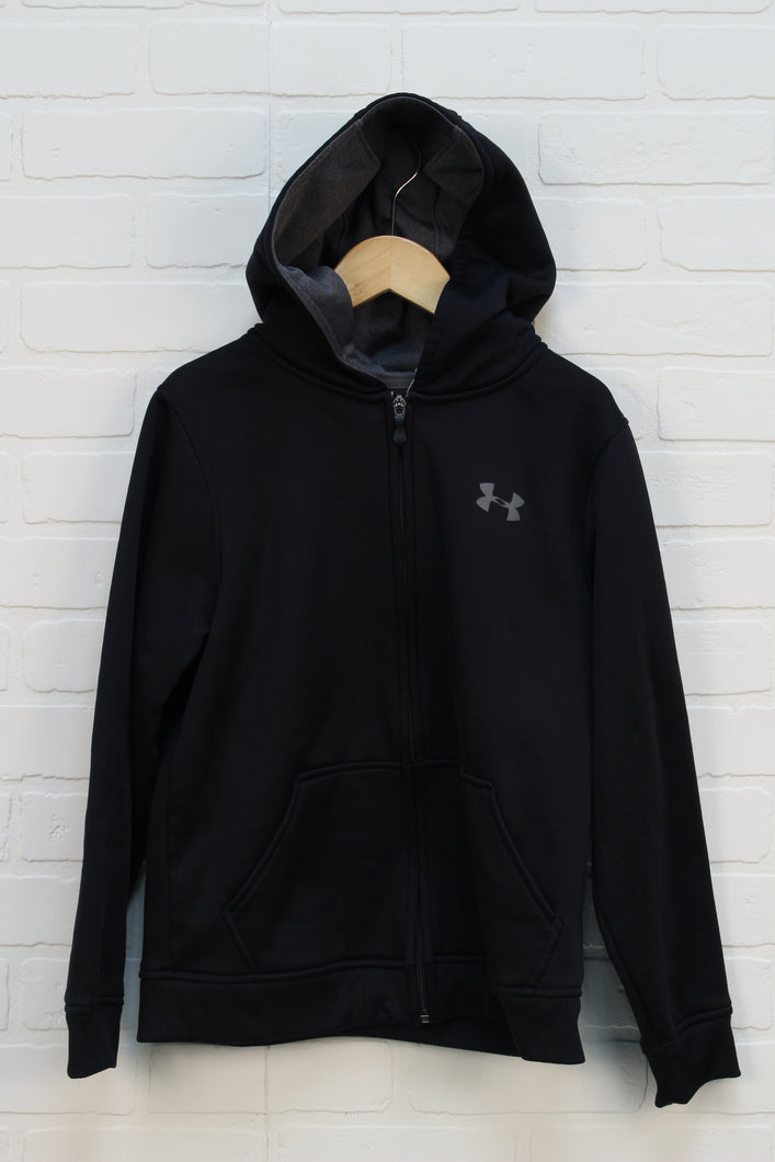 Black Fleece Lined Hoodie (Size YMD/10-12)