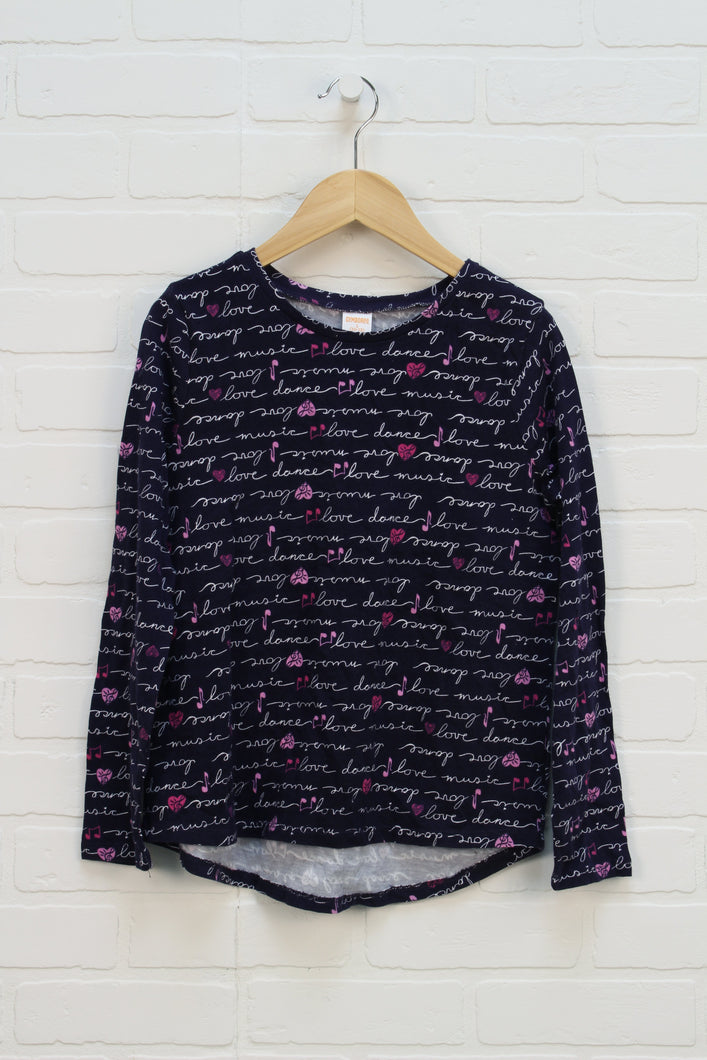 NWT Navy Graphic Top (Size L/10-12)